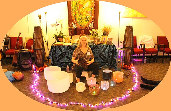 crystal bowl 'bath' conducted by Sapphira Cindy Bergbower